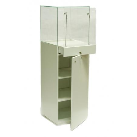 Solits sokkel vitrine wit afmeting 47x45x145 cm, kap is 45x45x45 cm