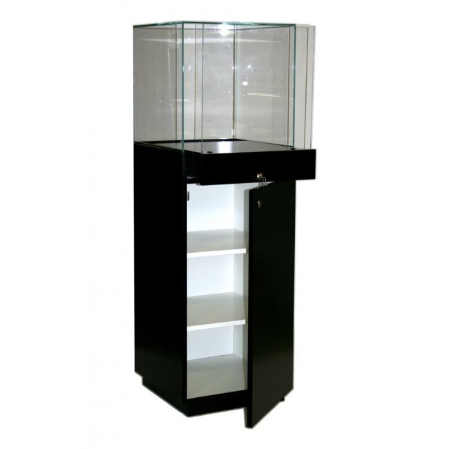 Solits sokkel vitrine zwart afmeting 47x45x145 cm, kap is 45x45x45 cm