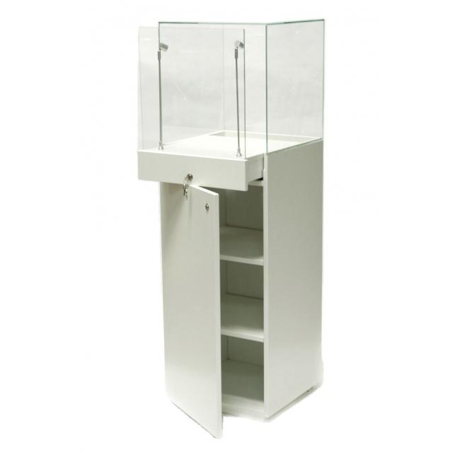 vitrine sokkel wit, 40 x 40 x 140 cm (lxbxh) met glazen beschermkap 40 x 40 x 40 cm